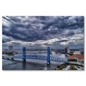 Αφίσα (σύννεφα, γέφυρα, πόλη, θάλασσα)